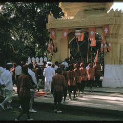 Departure of officials from Vat Ong Tu after ceremony