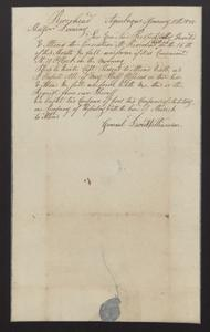 """Invitation from General David Williamson to Major Dominy to attend """"the Execution at Riverhead"""" in full uniform, 1835"""