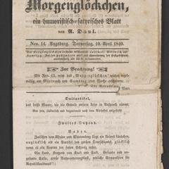 Das Morgenglöckchen, ein humoristisch-satyrisches Blatt von A. Daul. Nro. 14. Augsburg. Donnerstag, 19. April 1849
