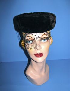 Black fur pillbox hat