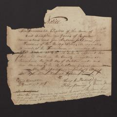 Notice from Henry H. Parsons and Felix Dominy to Mrs. Abel K. Conkling, 1828