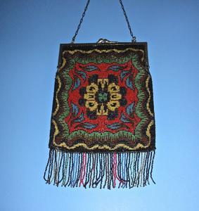 Carpet design beaded bag