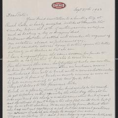 [Letter from Carl Sternberger to Pete, September 27, 1923]