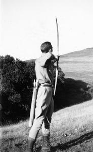 Starker Leopold with bow and arrow
