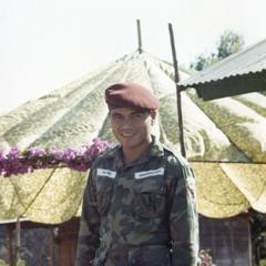 A military instructor from Nam Tang awaits the visit of General Phasouk in Attapu Province
