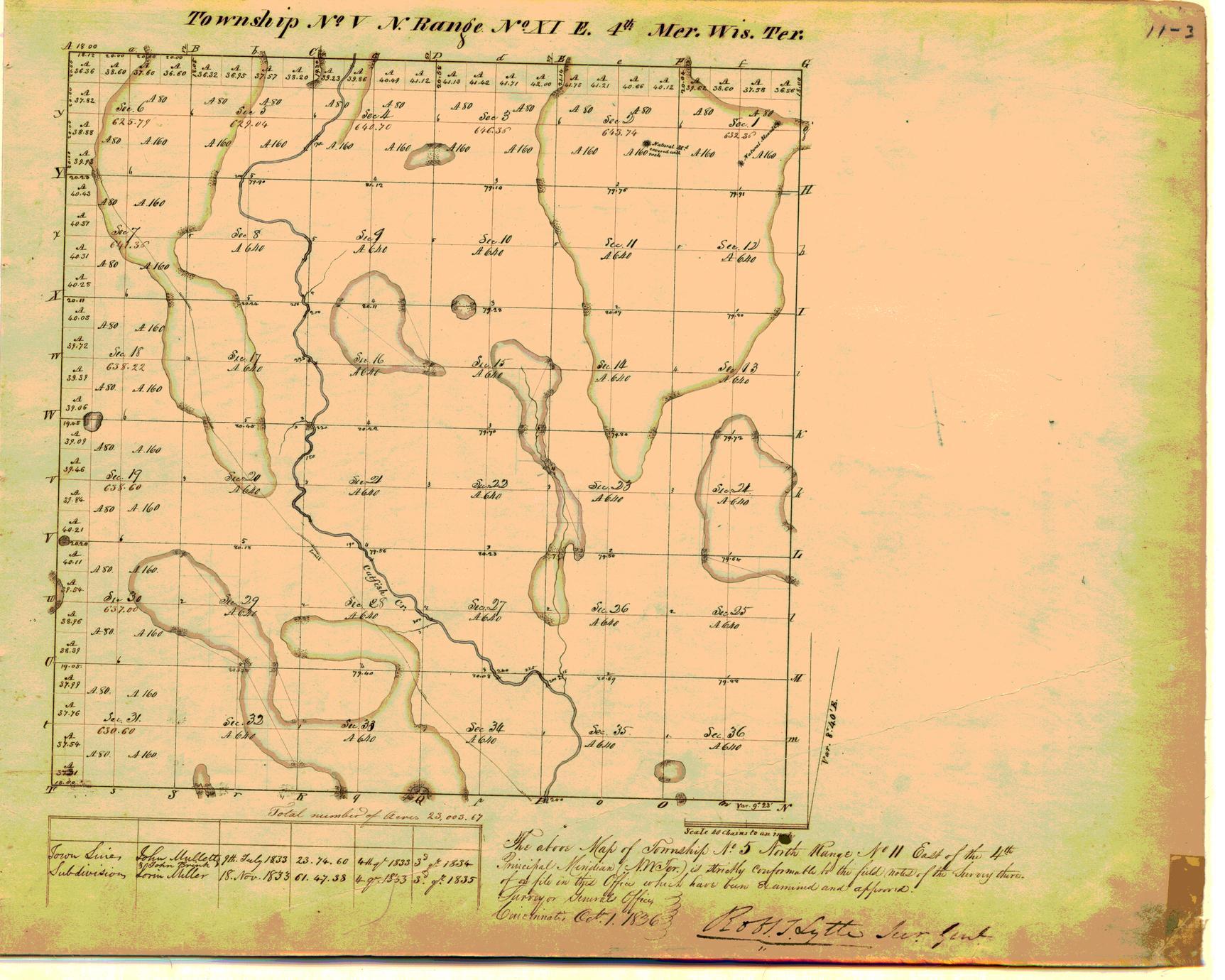 [Public Land Survey System map: Wisconsin Township 05 North, Range 11 East]