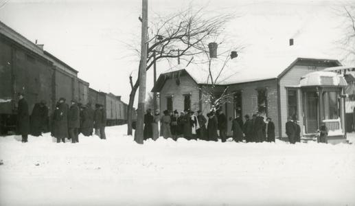 Train in snow at Democrat newspaper office