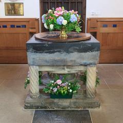 Iffley St Mary Church Norman baptismal font