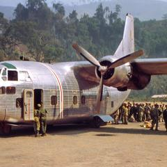 Air America C-123 with troops at Long Tieng