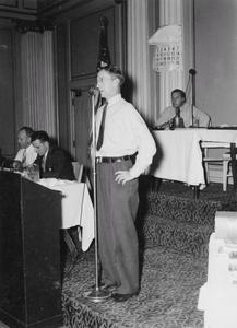 William F. Grimmer speaking before Wisconsin Conservation Congress