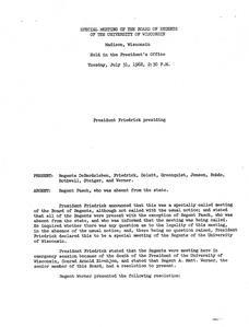 Fred Harvey Harrington (1962-1970) : Minutes of the University of Wisconsin Board of Regents