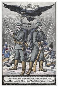 Rings Feinde eine ganze Welt, im Osten und gegen West, Von der Maas bis an die Memel, stehn Deutschlands Söhne treu und fest.