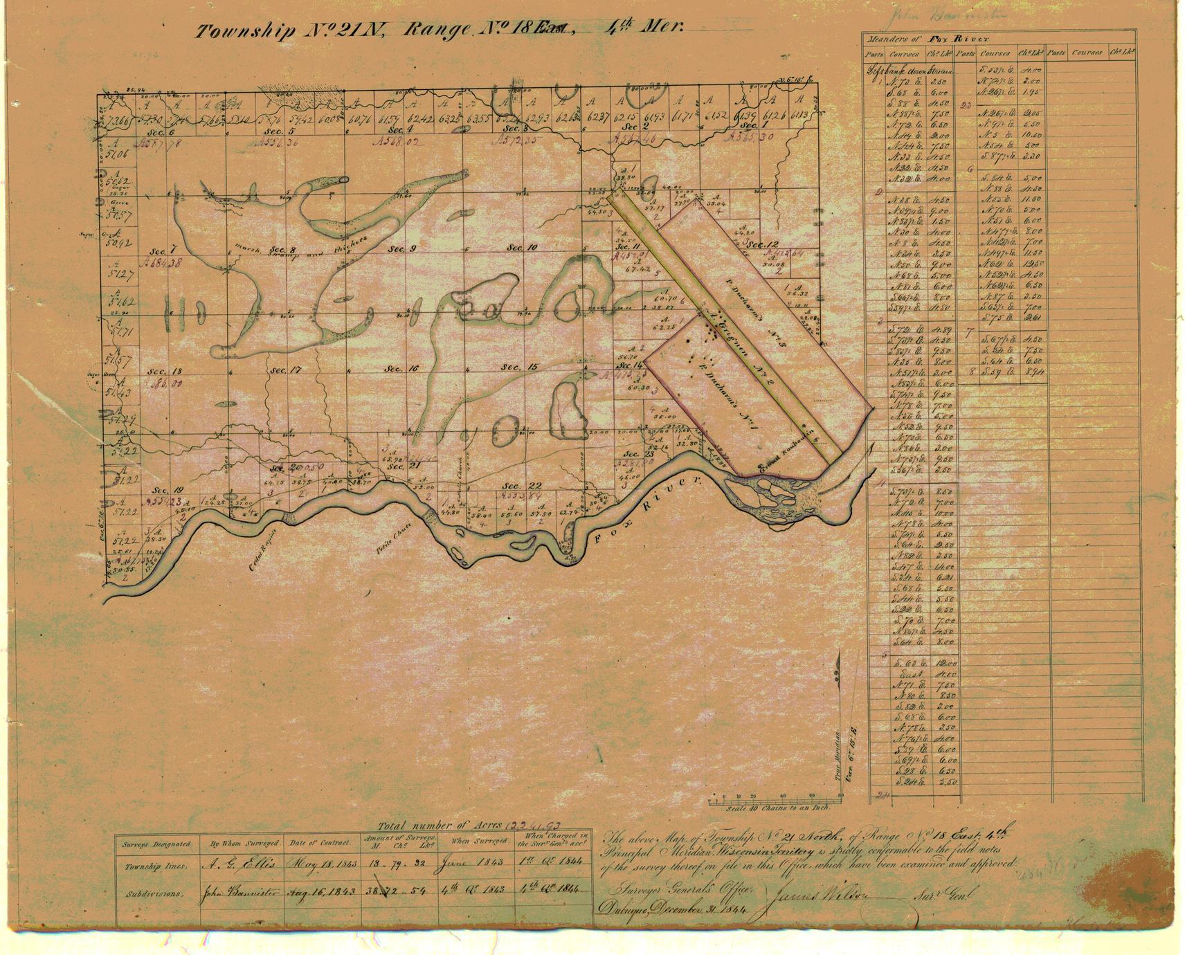 [Public Land Survey System map: Wisconsin Township 21 North, Range 18 East]