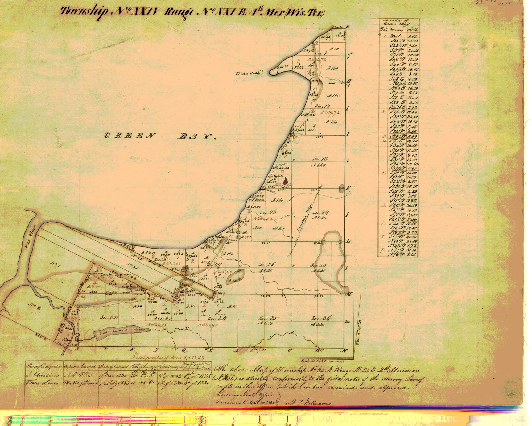 [Public Land Survey System map: Wisconsin Township 24 North, Range 21 East]