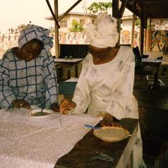 Women designing fabric