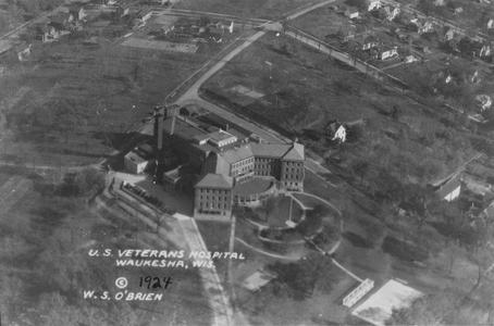 Veterans' Administration Hospital Waukesha, aerial northeast view