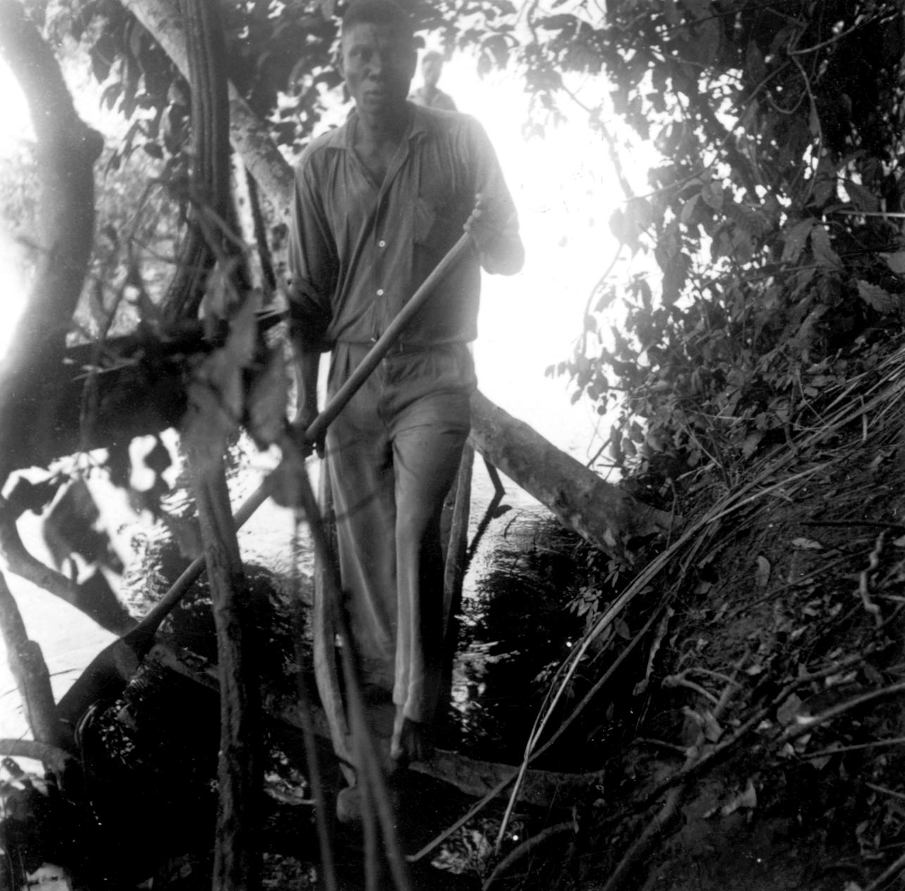 Paddler of Kasai River Pirogue