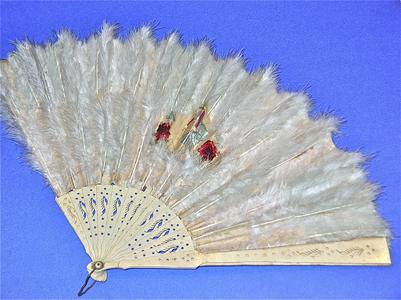 Large white feather fan with picture