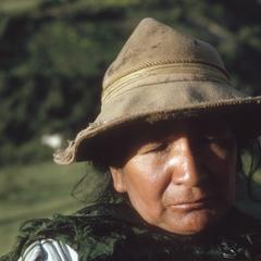 Indian woman at farm above Abancay