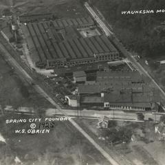 Spring City Foundry, Waukesha, aerial (sepia)