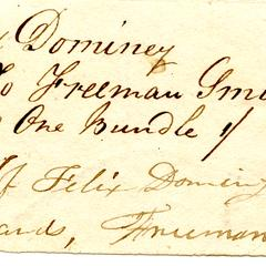 "Bill and receipt from Freeman Smith to ""Phoelix Dominy"""