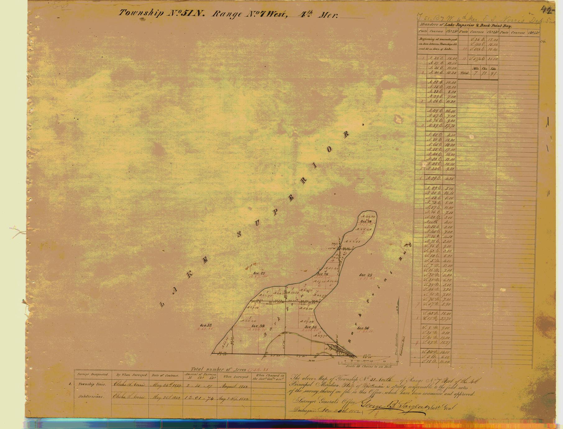 [Public Land Survey System map: Wisconsin Township 51 North, Range 07 West]
