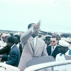 President Houphouet-Boigny of the Côte d'Ivoire in his Limousine