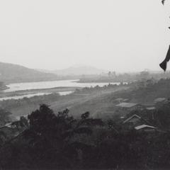 A view of the town of Nam Kheung and airstrip on the Mekong River in Houa Khong Province