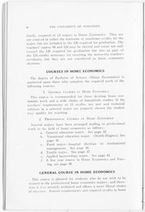 University of Wisconsin : courses in home economics