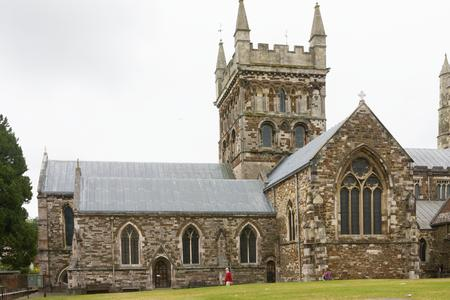 Wimborne Minster chancel, tower and transept from the north