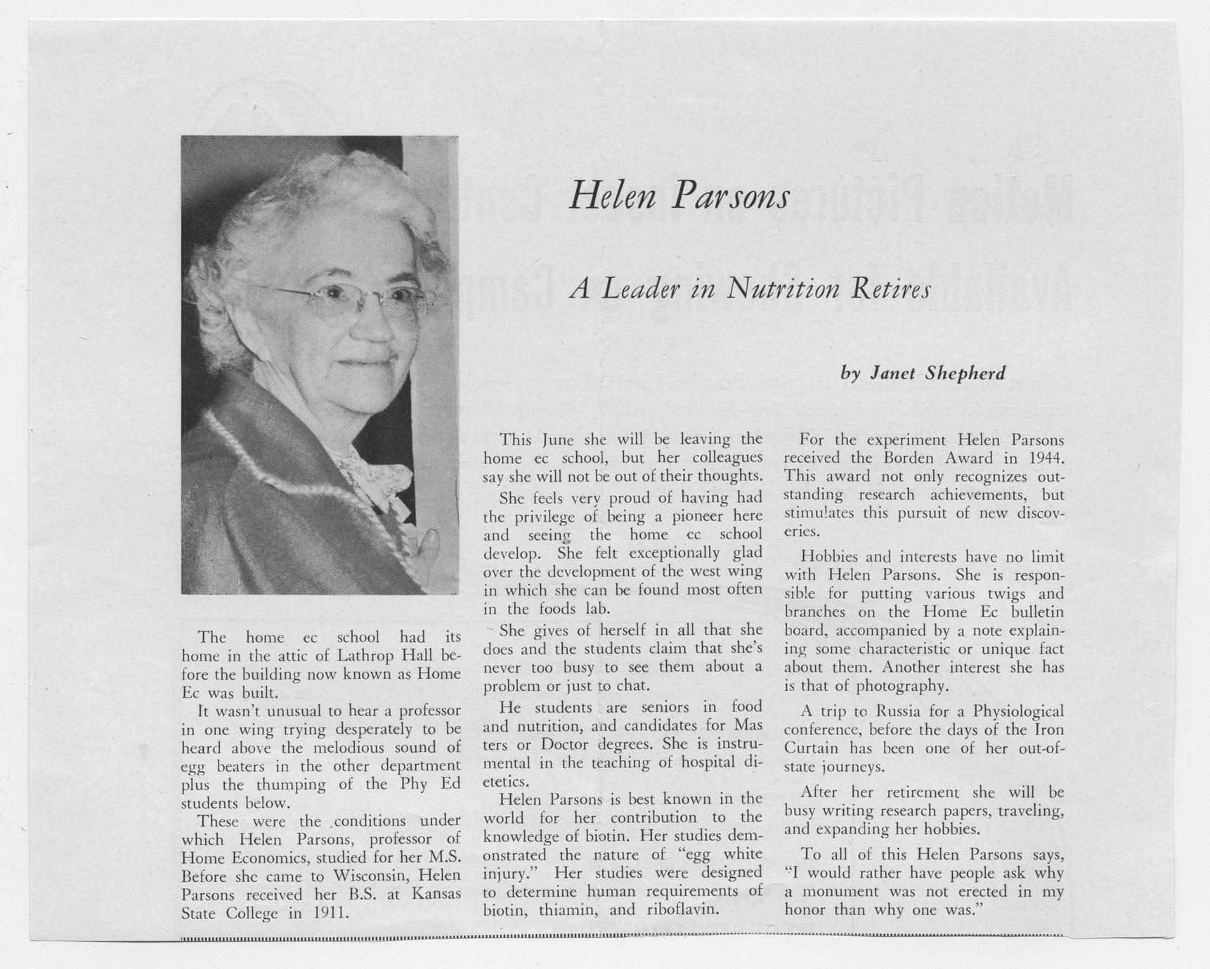 Helen Parsons : a leader in nutrition retires