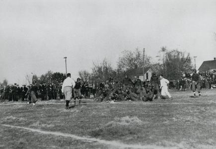 End of football play by Wisconsin Mining School