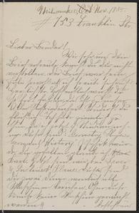 [Letter from Hanna Sternberger to her brother Karl Sternberger, November 1885]