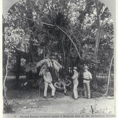 U.S. soldiers relax in the Botanical Gardens, Manila, 1902