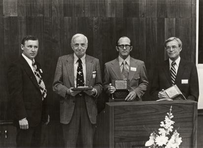 James Alexander, Joseph Hickey, Robert Clark and Pat Felker at the naming ceremony, University of Wisconsin--Marshfield/Wood County, May 4, 1974