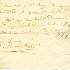 Note from Eden L. Latham to the Overseers of the Poor of the Town of East Hampton, 1835