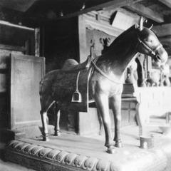 A bronze horse in a temple.