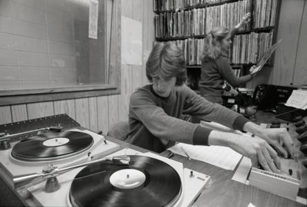 Playing records for student radio