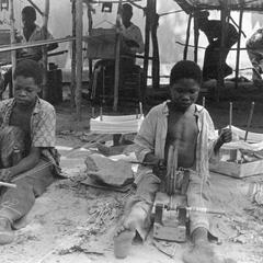 Fulbe Boys Preparing Cotton Thread Spindles for Weavers