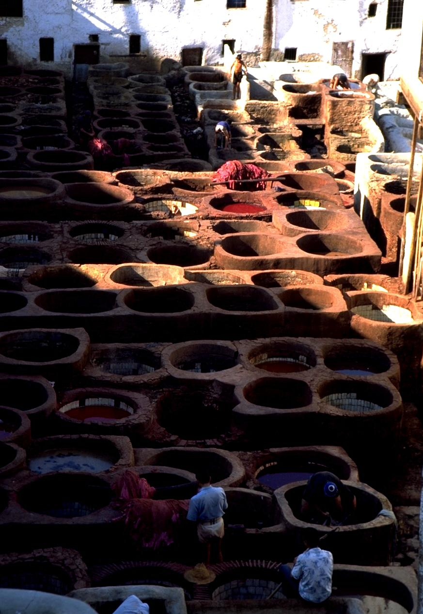 Open-Air Leather Tanneries in Fez Medina