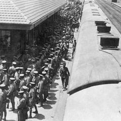 Japanese troops gathering at Tianjin 天津 East Station.