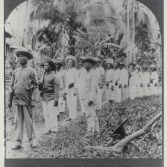 Filipino soldiers returning to camp, 1900-1910