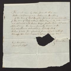 Bill of sale for Hook Schoolhouse, 1830