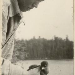 Starker holding loon chick, Quetico, June 1924