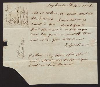 Letter from Elijah Simons, 1821