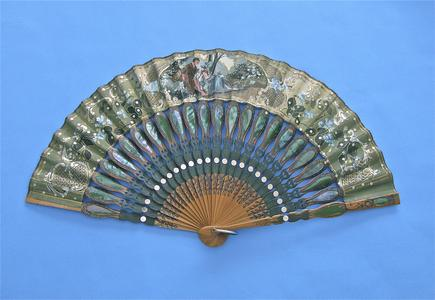 Fan with image of man courting woman