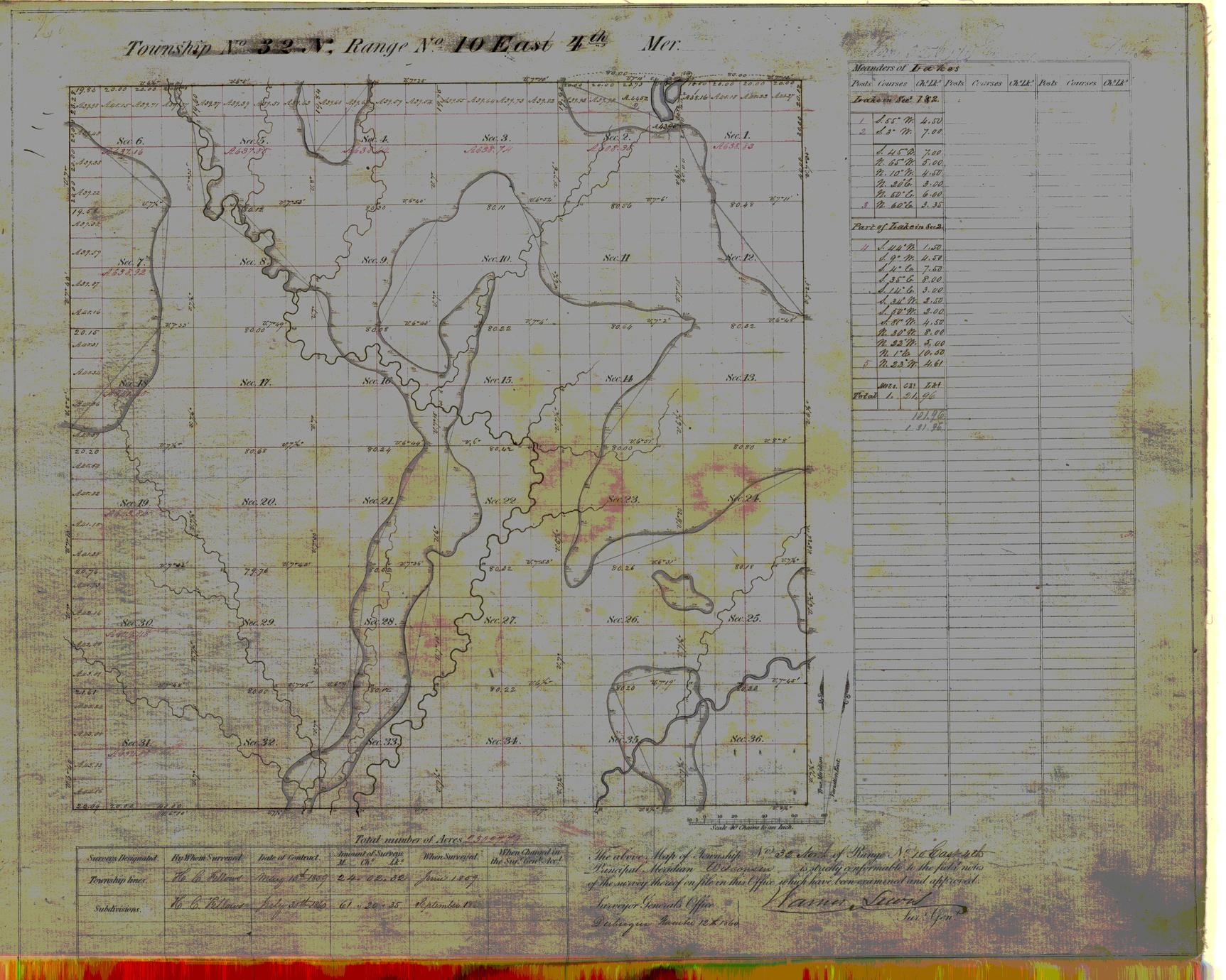 [Public Land Survey System map: Wisconsin Township 32 North, Range 10 East]