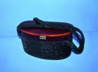 Black beaded Lucite purse