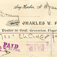 Bill from Charles W. Payne to Nathaniel Dominy VII, 1895