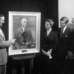 Presentation of portrait painting of AL by Robert Grilley, September 10, 1954 (L-R : Robert McCabe, Estella B. Leopold, Robert Grilley, Ira Baldwin)